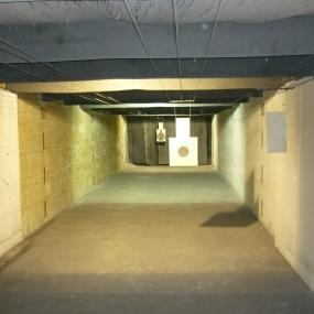 Indoor shooting range with paper targets included